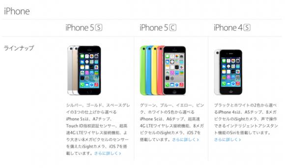 iPhone5が消えた比較ページ