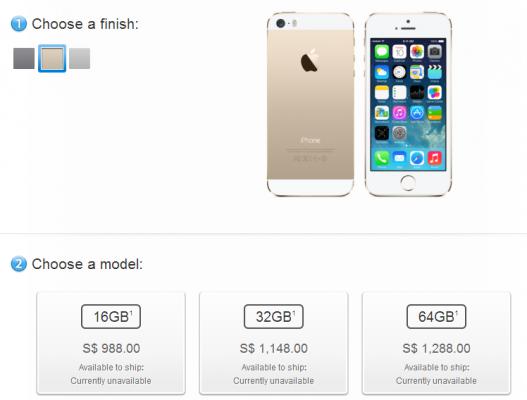 シンガポールではiPhone 5sは「現在入荷未定」