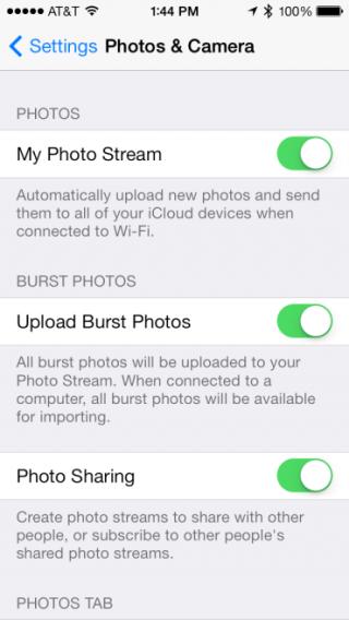 New upload burst photos toggle