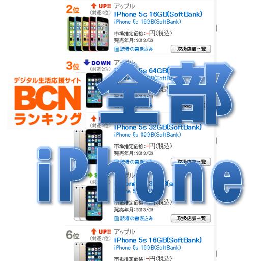 携帯売れ筋トップ10をiPhoneが独占。iPhone 5c人気も上昇中