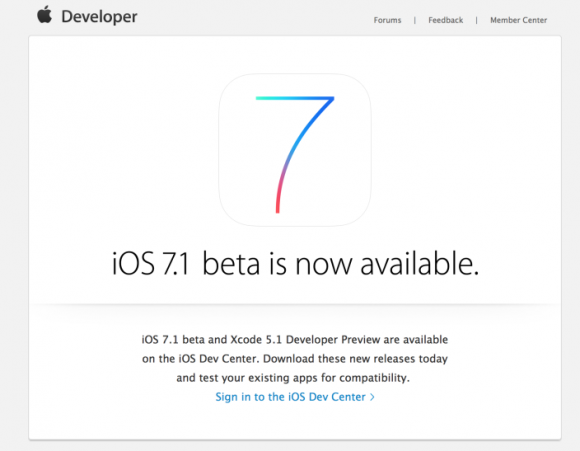iOS 7.1 beta版提供