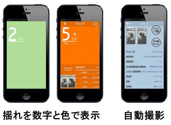 揺れを観測すると自動撮影、フォトストリームにアップ、iOS機器間で情報共有