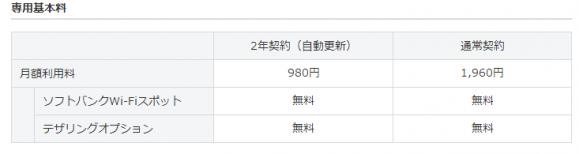 専用基本料(2年契約の自動更新で月額980円、または月額1,960円)と、S!ベーシックパック(月額300円)が必要