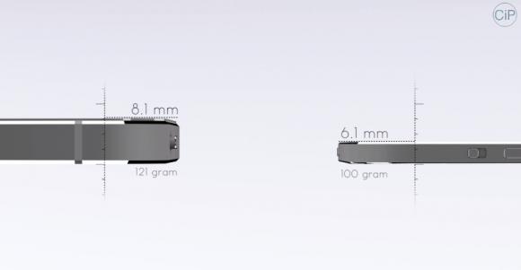 iPhone 5sより25%薄く、20%軽く