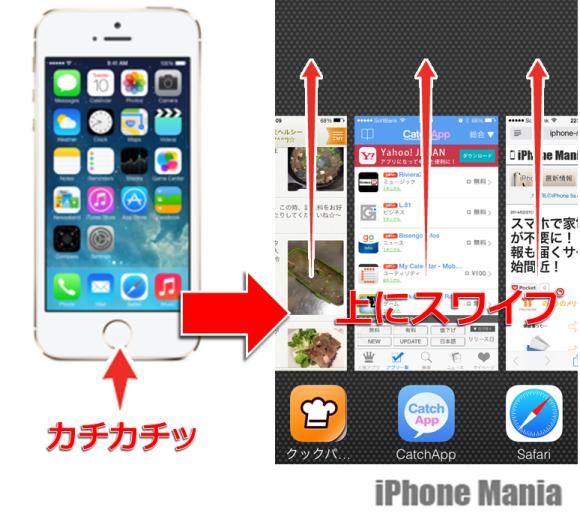 1.まず、起動中のアプリをすべて終了させる
