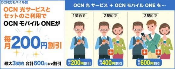 NTTコム、OCNの光とSIMで「セット割」を開始!