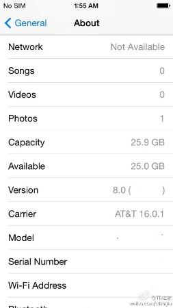iOSのバージョンは「8.0」と記されています