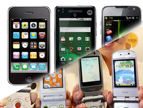 iPhone スマートフォン ガラケー契約数