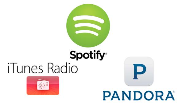 Spotify、iTunes Radio、PANDORAのロゴ