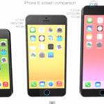現行iPhoneと4.7インチ、5.5インチの比較