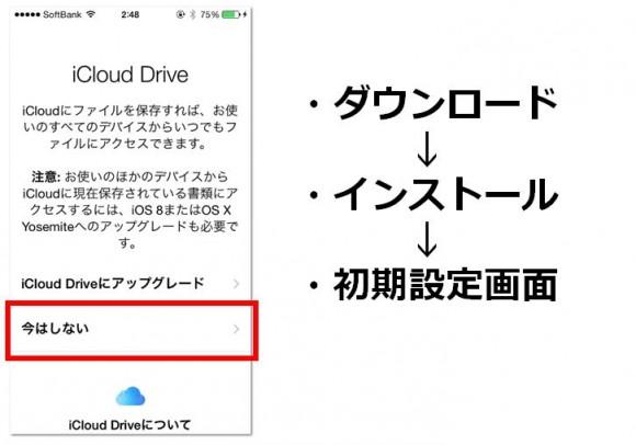 iCloud Drive 設定画面