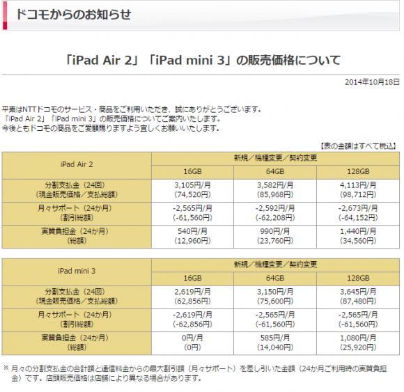 iPad_docomo料金