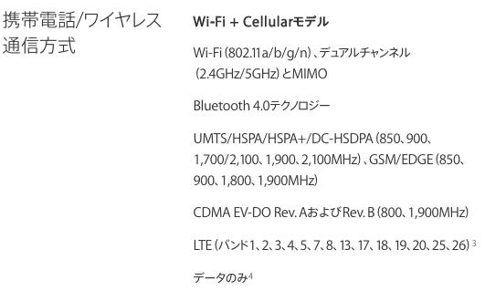 iPad mini3の対応周波数
