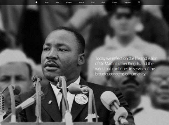 米アップル、トップページに「私には夢がある」のキング牧師の写真を掲載