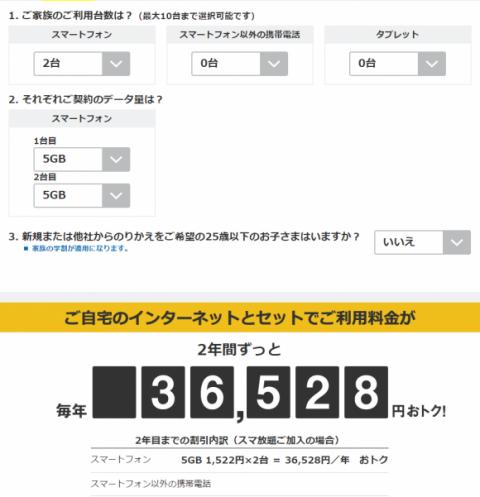 SoftBank光 割引額シミュレーター