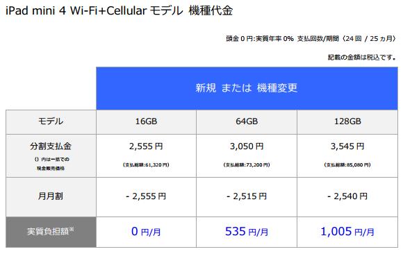 iPad mini 4 Wi-Fi+Cellularモデル価格