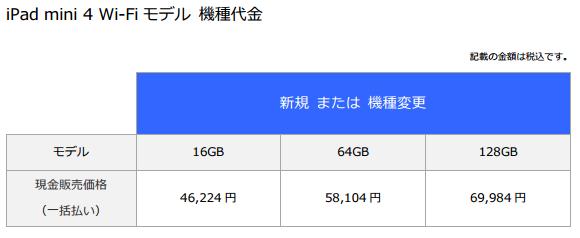 iPad mini 4 Wi-Fiモデル価格