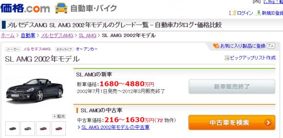 SL AMG 2002年式 価格