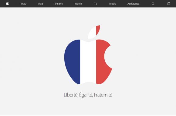 仏Apple、パリ事件受けAppleロゴをフランス国旗色に