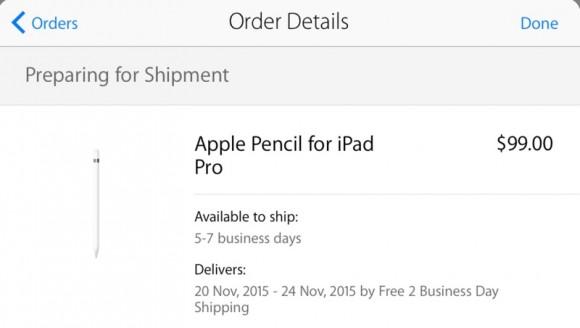 Apple Pencil 出荷状況