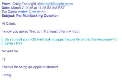 問い合わせメール 返信 Apple幹部