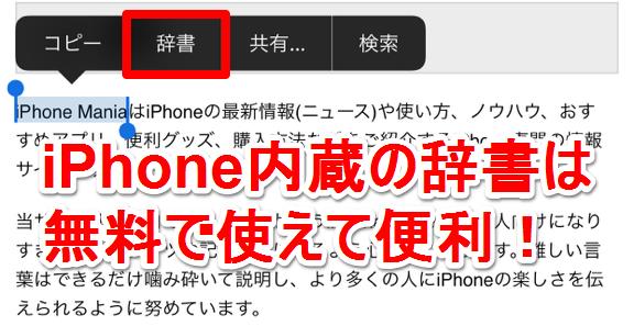 iPhone 内蔵 辞書