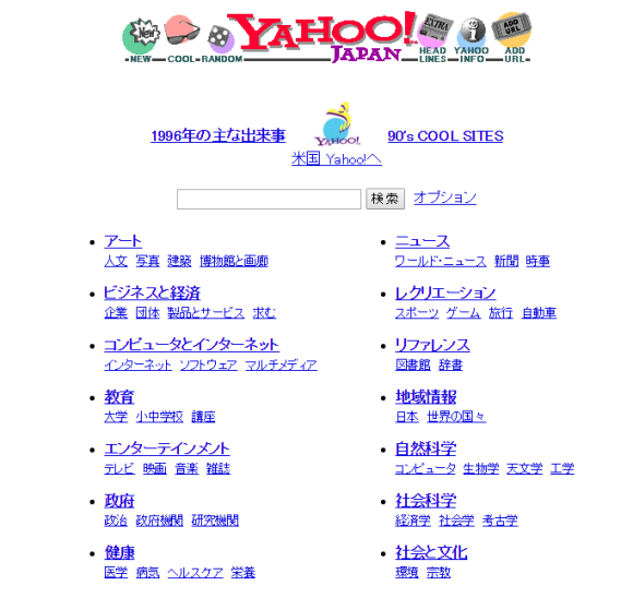 Yahoo! JAPAN 1996年版デザイン