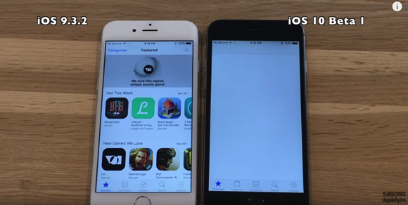 iOS10 iOS9.3.2 比較