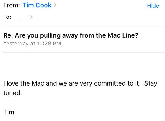 tim cook mac メール