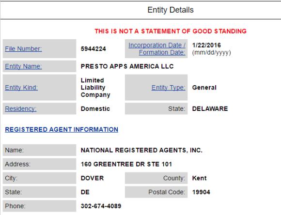Presto Apps America LLC