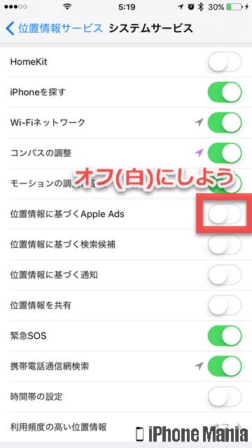 iPhoneの説明書 プライバシー 広告