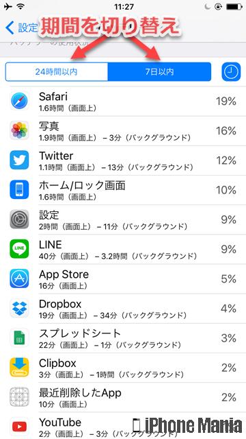 iPhoneの説明書 バッテリー 使用状況