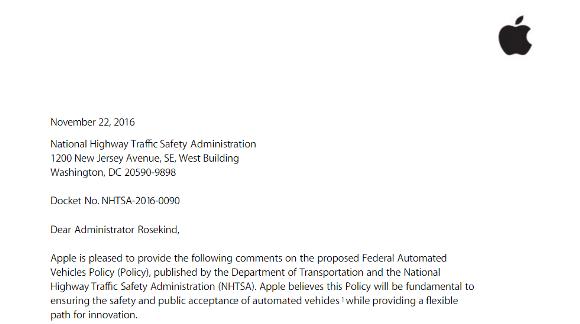 NHTSA 自動運転 Apple 意見書