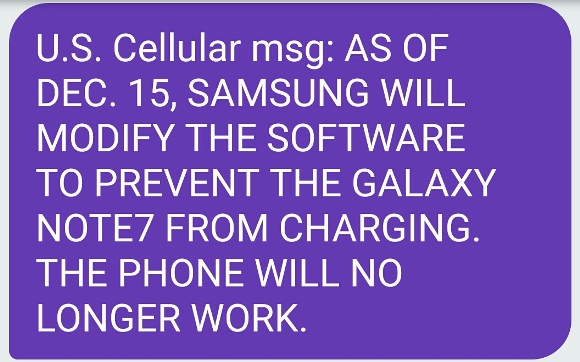 Galaxy Note 7 アップデート 充電不可能