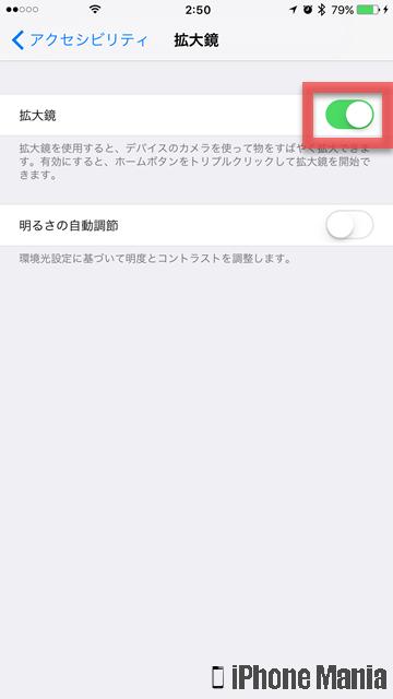 iPhoneの説明書 拡大鏡
