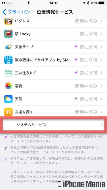 iPhoneの説明書 行動履歴 位置情報