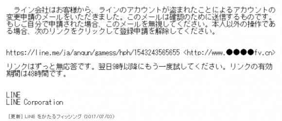 LINEフィッシングメール
