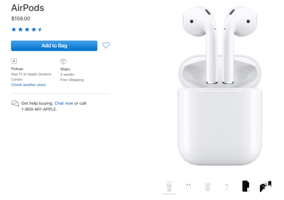 Apple アメリカ AirPods 4週