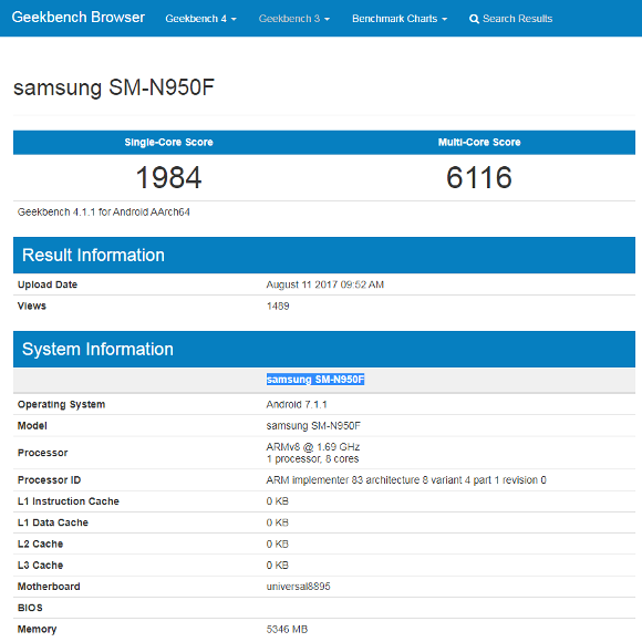 Samsung Galaxy Note 8 Geekbench ベンチマークスコア