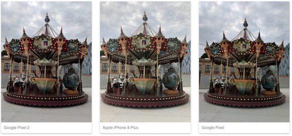 左からPixel 2、iPhone8 Plus、初代Pixel