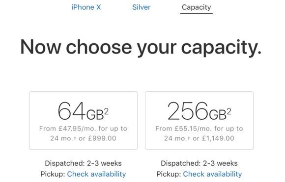 iPhone X 出荷予定 2〜3週間