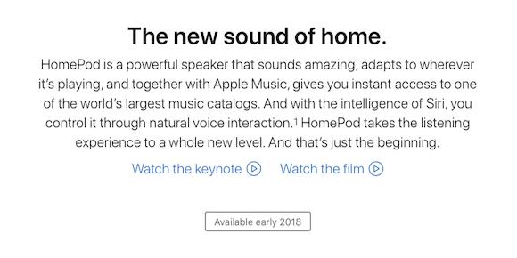 HomePod 2018年初頭発売