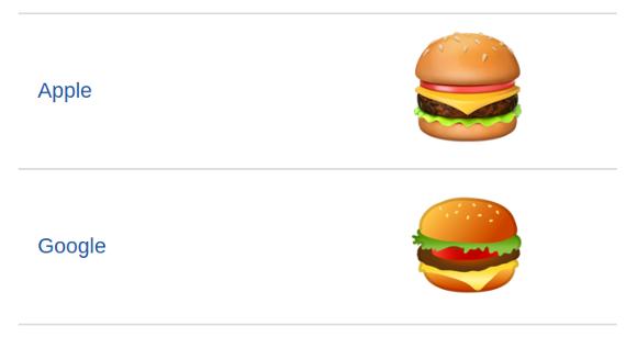 バーガー 絵文字 Google