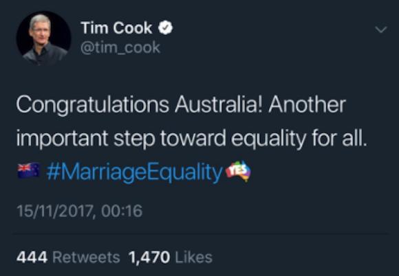 ティム・クック ツイート オーストラリア