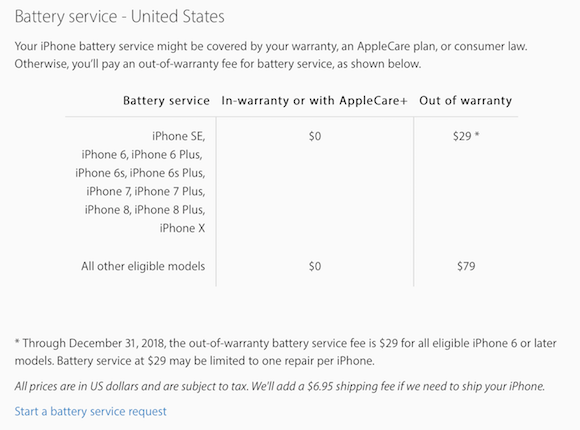 Apple iPhone service pricing