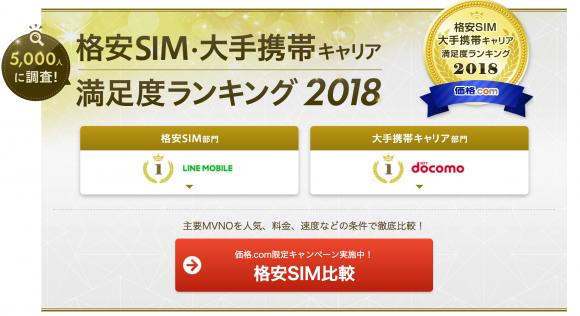 価格.comの格安SIM・大手携帯キャリア満足度ランキング2018