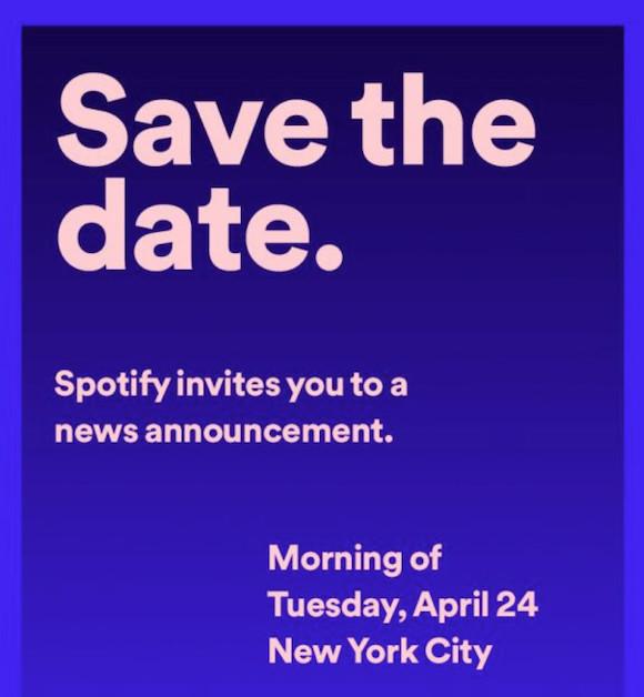 Spotify 発表予告