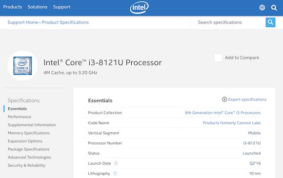 Intel Core i3-8121U