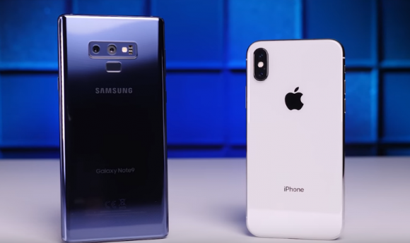 galaxy note 9 iphone x 実験 youtube 比較