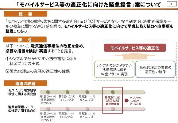総務省「モバイルサービス等の適正化に向けた緊急提言(案)概要」